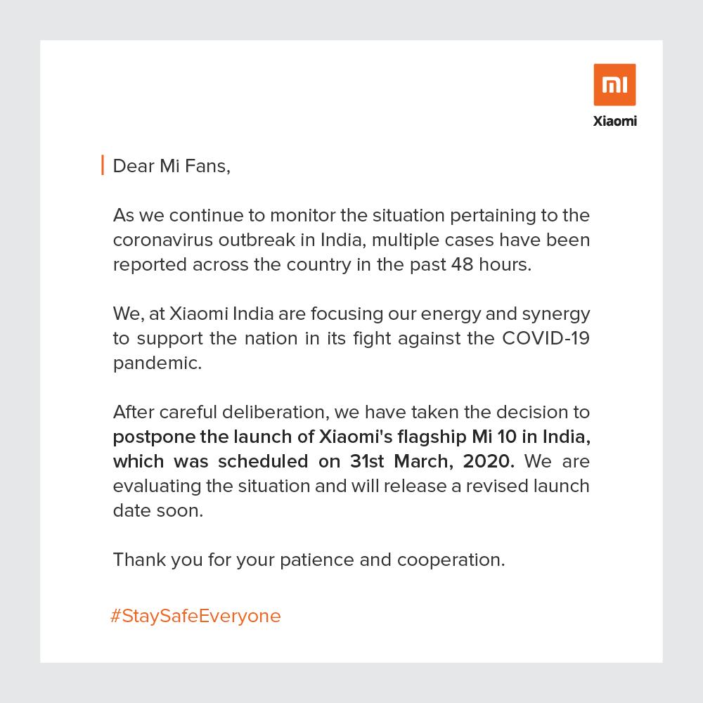Launch Date of Mi Note 10 Postponed